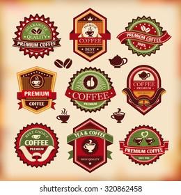 Set of vector vintage coffee labels
