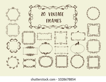 Set of Vector Vintage Decorative Elements for Invitations, Banners, Posters, Placards, Badges or Logotypes.