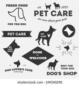 Set of vector vintage dog's labels