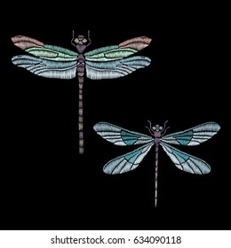 Set of vector vintage dragonfly, decorative element for embroidery, patches and stickers	 Embroidered butterfly on a black background