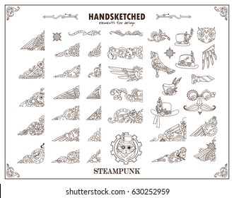 Set of vector vintage elements for design. Steampunk collection, hand drawn mechanical watch, clock, gear wheel, birds, feathers, hats, owl, cat. Ornate art for frames, borders, logo. Sepia color