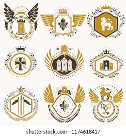Set of vector vintage elements, heraldry labels stylized in retro design. Symbolic illustrations collection composed with medieval strongholds, monarch crowns, crosses and armory.