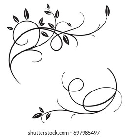 Set of vector vintage flourishes and spring tree branches and leaves. Retro decorative frame, swirl ornate garden decor, border. For romantic calligraphy style postcard, menu, wedding invitation.