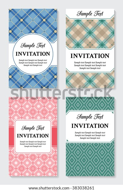 Set Vector Vintage Invitation Business Cards Stock Vector Royalty
