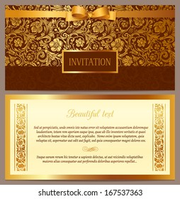Set of vector vintage luxury horizontal invitation with a beautiful baroque pattern and border. Brown and gold.