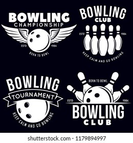 Set of vector vintage monochrome style bowling logo, icons and symbol. Bowling ball and bowling pins illustration. Trendy design elements, isolated on black background.