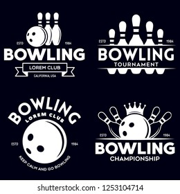 Set of vector vintage monochrome style bowling logo, icons and symbol. Bowling ball and bowling pins illustration. Trendy design elements, isolated illustration.