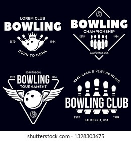 Set of vector vintage monochrome style bowling logo, icons and symbol. Bowling ball and bowling pins silhouettes. Trendy design elements, isolated vector illustration.