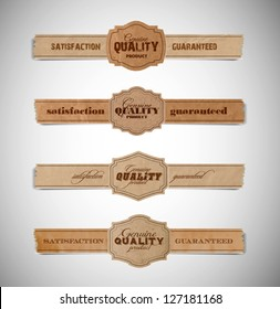 A set of vector vintage old torn paper and cardboard labels - genuine quality product satisfaction guaranteed