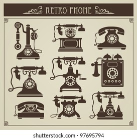 The set of vector vintage phones on a gray background