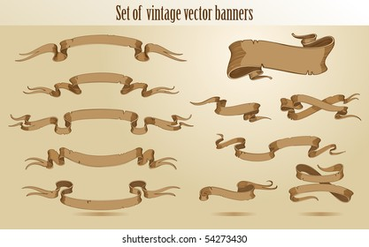 Set of vector vintage stroked banners