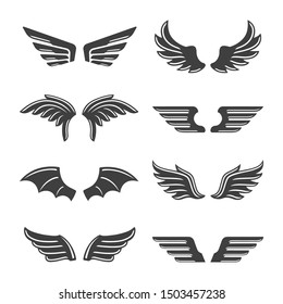 set of vector vintage wings silhouette on white background