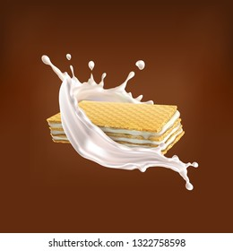 Set, vector wafers with cream, into milk splash in a realistic style, isolated on a Chocolate background.