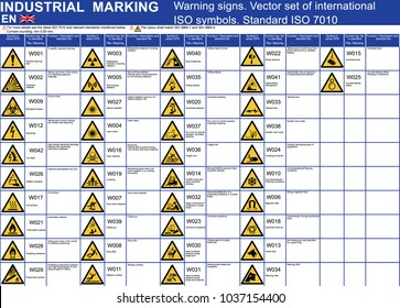 Set of vector warning signs symbols icons. ISO 7010 standard vector warning caution symbols. Vector graphic warning icons symbols signs flammable radiation explosive high voltage hot fire