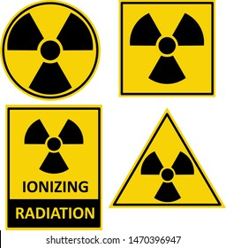 Set of vector warning stickers with radioactive materials or ionizing radiation sign. Vector icons set. EPS 10