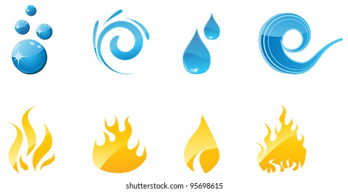 Set of vector water and fire shiny icons for your designs