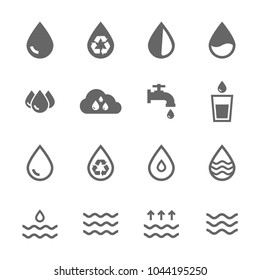 Set vector water icons grey on white background