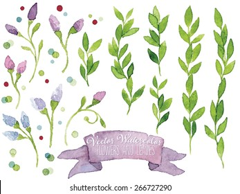 Set of vector watercolor botanical elements. Watercolor floral set. Blue and pink flowers, violet ribbon, green leaves and colorful dots. Great for wedding cards, invitations and greeting cards.