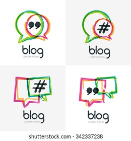 Set of vector watercolor hand drawn blog icon. Abstract isolated logo. Colorful square speech bubbles with hashtag symbol. Design concept for blog, chat, social media network, forum, communication.
