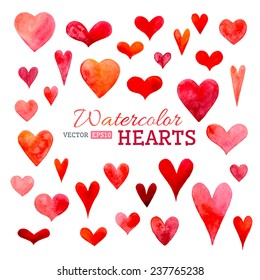 Set of vector watercolor hearts. Hand-drawn various hearts isolated on white background. Wedding or Valentine's template.