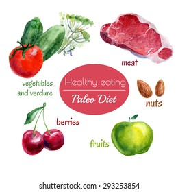 Set of vector watercolor illustrations of fresh food - vegetables, nuts, meat, berries, fruits. Healthy eating Paleo diet. Almond, apple, cherry, beef steak, cucumber and tomato.