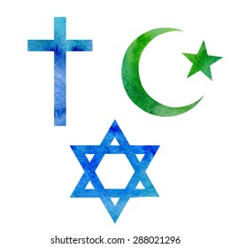 Set of vector watercolor symbols of three Abrahamic or Semitic religions. Christian, Islamic and Jewish signs. Blue cross, dark blue star of David and green star and crescent.