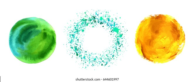 A set of vector watercolor textured frames in teal blue, green, and golden. Abstract hand painted circles and splashes with a place for logo or text, on white background