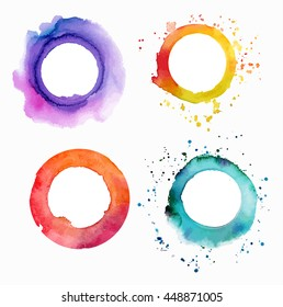 A set of vector watercolor textures: purple, yellow, pink, and teal blue abstract hand painted circles with a place for text, on white background