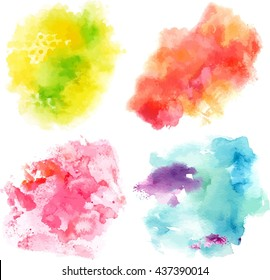 Set of vector watercolor textures representing four seasons of year: abstract blue and purple brushstrokes (snow), pink dabs (blooming flowers), green dots (grass), and orange stain (leaves)