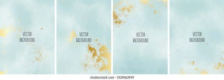 Set of vector watercolour universal background with gold gradient and copy space for text.