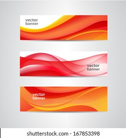 set of vector wavy abstract orange and red banners