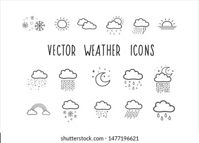 A set of vector weather icons. Weather forecast symbols. Vector illustrations by hand