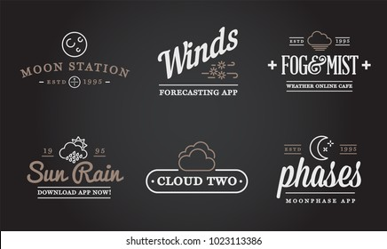 Set of Vector Weather Icons and Logotypes of Business Forecasting Apps and Channels