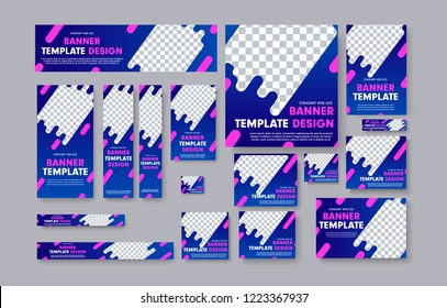 Set of vector web banners with blue gradients, pink design elements and place for photo. Templates standard sizes.