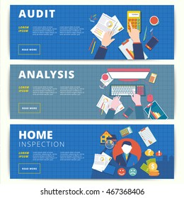 Set of vector web banners design for business or finance services.Analysis, audit or accounting, and home inspection and appraisal affairs.