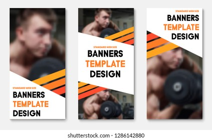 Set of vector web banners with place for photo and diagonal orange stripes. Standard size templates for business, sports and advertising.
