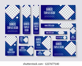 set of vector web banners of standard size with a square place for a photo. Blue Template for business and advertising with gradients and lines.