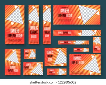 Set of vector web banners with yellow gradient, triangular design elements and place for photo. Templates are standard sizes with orange strokes.