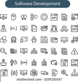 Set of vector web development line icons. software development line icons