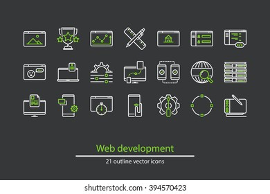Set of vector web development line icons.