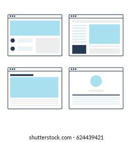 Set of vector website template line design with browser