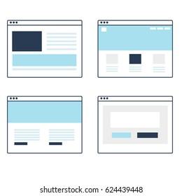 Satz von Vektorgrafik-Website-Vorlagenliniendesign mit Browser
