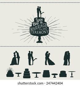 Set of vector wedding elements. Designers toolkit, vintage style.