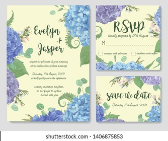 Set of vector wedding invitation, greeting card, save date. leaves, branches eucalyptus, gaultheria, salal, chamaelaucium, fern.Blue, purple, of flowers hydrangea. Design template for wedding
