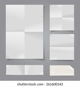 Set of vector white folded papers.