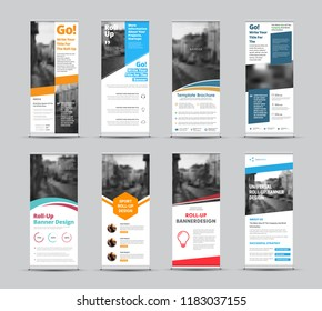 Set of vector white roll-up banners with place for photo. Universal template for business and advertising with different geometric elements of design.
