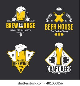 Set of vector white and yellow vintage beer logo, icons and design elements isolated on black background