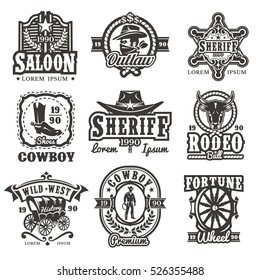 Set of vector wild west logos, badges with cowboy and attributes of the wild west isolated on white.