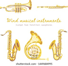 Set of vector wind classical musical instruments. Saxophones, flute, french horn, trumpet. Warm colors.