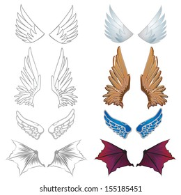 Set of vector wing elements